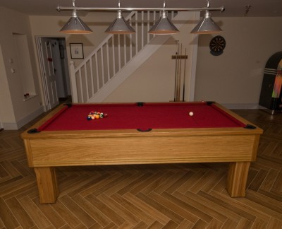 Emperor English Pool Table in Oak with Cherry Cloth
