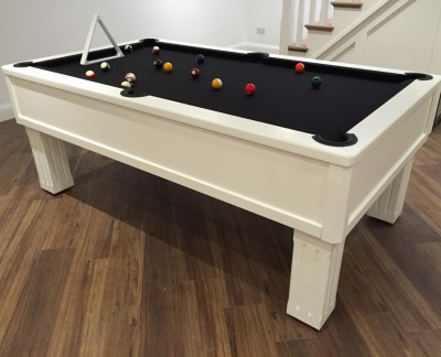 Emperor English Pool Table in White with Black Cloth