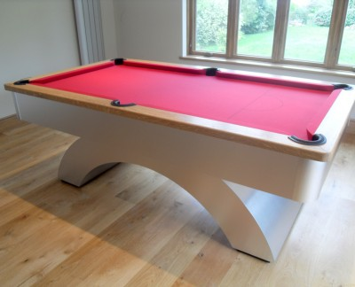 Arched-Contemporary English Pool Table with Oak Cushion / Red Cloth