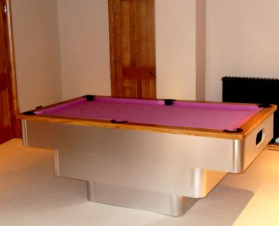 Tiered-Contemporary English Pool Table with Oak Cushion and Pink Cloth