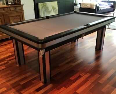 Pool Dining Table with Brushed Aluminium Inserts