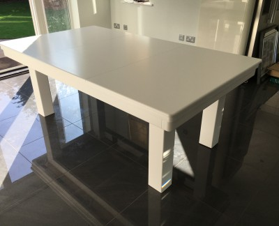 NEW-STYLE Pool Dining Table - 7ft White / Blue