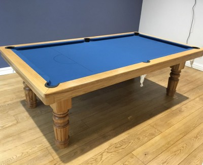 Pool Dining Table - 8ft Oak / Blue