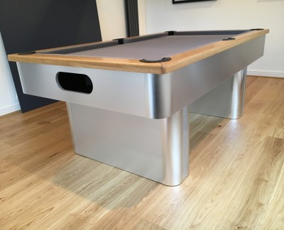 Pedestal-Contemporary English Pool Table - Oak Cushion Rail and Silver Cloth