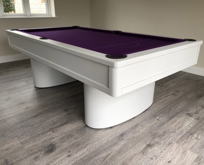 Oval-Pedestal-Contemporary English Pool Table - Painted Finish with Purple Cloth