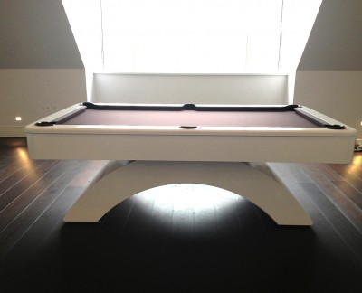 Olhausen Waterfall Pool Table in Satin White with Chocolate Cloth