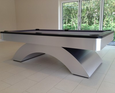 Olhausen Waterfall Pool Table in Brushed Aluminium with Grey Cloth